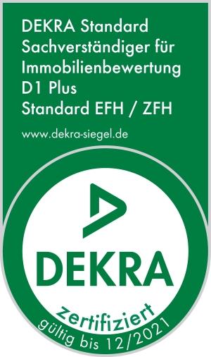 DEKRA zertifizierte Bausachverständige für Immobilienbewertung D1 Plus (Standard Ein- und Zweifamilienhäuser)