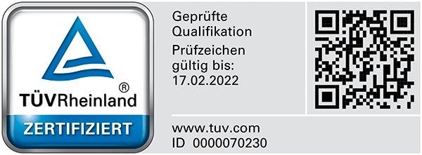 Bausachverständiger für Schäden am Gebäude mit TÜV Rheinland geprüfter Qualifikation (PersCert TÜV Rheinland)